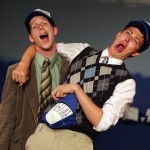 "Nick Herman, left, and Trevor Hoffmann, right, rehearse for their play, ""Gutenberg! The Musical!"" (Crista Jeremiason / The Press Democrat)"