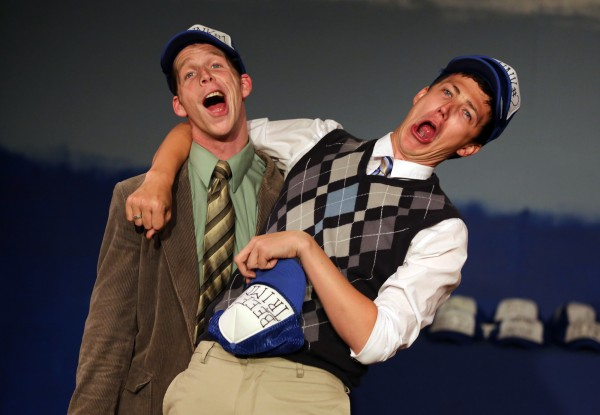 """Nick Herman, left, and Trevor Hoffmann, right, rehearse for their play, """"Gutenberg! The Musical!"""" (Crista Jeremiason / The Press Democrat)"""