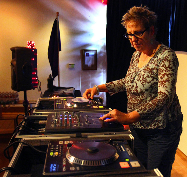DJ Val Richman presides over her Lunch Beat program. (Jeff Kan Lee / The Press Democrat)
