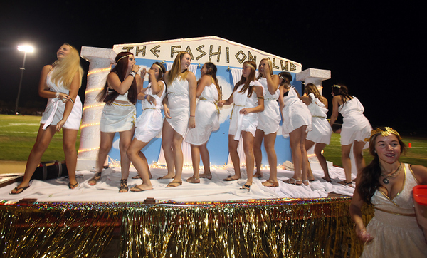 Casa Grande Fashion Club members wore togas on their homecoming parade float Oct. 5. (John Burgess / The Press Democrat)