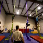 Cypher Zero at his Cirque Fly Aerial Acrobatics class in Petaluma. (Crista Jeremiason / The Press Democrat)