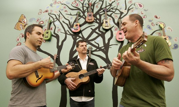 The band Smashing Banjos, from left, Jason Villa, Mike Upton, and Mark Milazzo. Upton is the founder of ukulele maker Kala Brand Music in Petaluma, where Villa and Milazzo also work. Milazzo works with Bread and Roses to bring live music to prisons and other institutions. (SCOTT MANCHESTER / The Press Democrat)