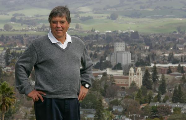 Petaluma Mayor David Glass with the city of Petaluma in the background. Shot from Hayes Lane. (Scott Manchester / The Press Democrat)