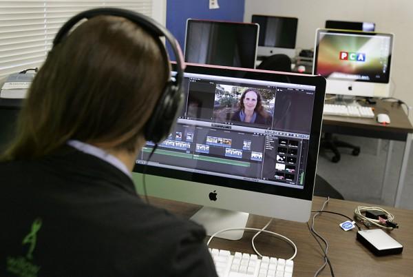 Vanessa Raditz of Petaluma works at editing a film at Petaluma Community Access in Petaluma on Tuesday, April 16, 2013. (Scott Manchester/The Press Democrat)