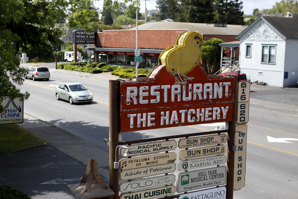 An old sign for The Hatchery in Petaluma on Tuesday, May 7, 2013. (BETH SCHLANKER / The Press Democrat)