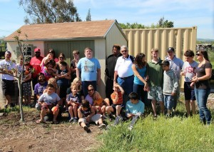Members of Petaluma Elks Lodge and students at the Cypress School with the new garden shed.