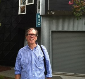 Roger Bell revisits the downtown Petaluma house he built 1991-1994.   (Photo by Michael Shapiro)